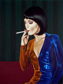 A woman with a cigarette. 80-60 cm. canvas, oil. by Vasiliy Zherebilo
