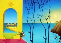 ?ommunicating courtyard. 50-70 cm. canvas, oil. by Vasiliy Zherebilo