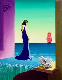 The High mode and scarlet sail. 90-70 cm. canvas, oil by Vasiliy Zherebilo