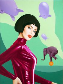 The princess of circus. 80-60 cm. canvas, oil by Vasiliy Zherebilo