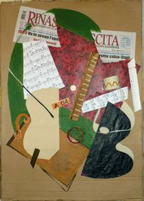 guitar, vase of flower, sheet music and newspaper by Stefano Bonif