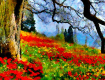 Poppies On A Hill by Zeana Romanovna