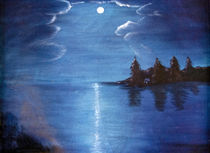 Moonlit Lake by Judy Hall-Folde