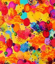 TIME FOR BUBBLY 2 - Fun Fiery Orange Red Whimsical Bubbles Bright Colorful Abstract Acrylic Painting von Ebi Emporium