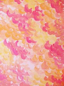 PINK PLUMES - Soft Pastel Wispy Pretty Peach Melon Clouds Strawberry Pink Abstract Acrylic Painting  by Ebi Emporium