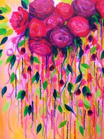 Roses are Rad, 2 - Bold Pink Red Roses Floral Bouquet Vines, Flower Abstract Acrylic Painting Fine Art von Ebi Emporium