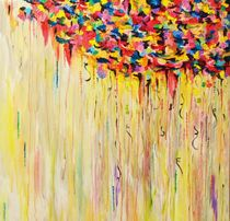 RAINING SUNSHINE - Bold Bright Sunny Colorful Rain Storm Abstract Acrylic Painting by Ebi Emporium