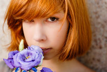 Beautiful redhead with chinese rose by Olha Shtepa