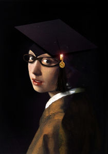 Girl with a Pearl Earring and Graduation Cap by gravityx9