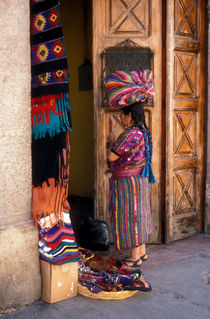 MAYAN TEXTILE VENDOR Antigua Guatemala by John Mitchell