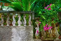 Steinmauer umrahmt einen Garten by Gina Koch