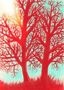 Winter evening, bloody trees by Mikel Cornejo Larrañaga
