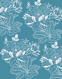 Teal and White Botanical von Patricia N