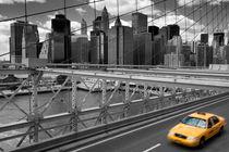 Yellow Cab on Brooklyn Bridge by David Tinsley