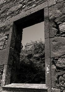 doorway of abandoned ruin with greenway in background von Joseph Amaral