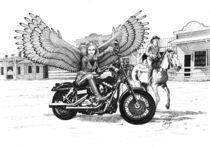 Biker Angel in Wild West von Alicja Jaczewska