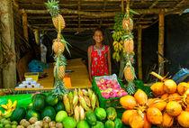 Tropischer Verkaufsstand mit Früchten von Gina Koch