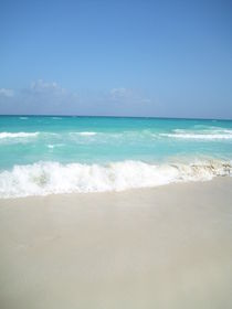 Summer Caribbean beach, blue water landscape. by Tricia Rabanal