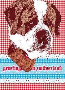 "san bernardo with patterns ""greetings from switzerland"" by unikum Silvia Ringgenberg / Barbara Flückiger"