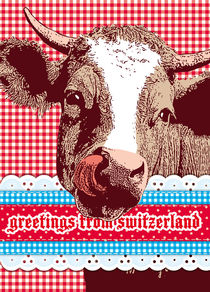 "cow with patterns ""greetings from switzerland"" by unikum Silvia Ringgenberg / Barbara Flückiger"