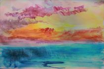 Lagoon Watercolour Sunset. von rosanna zavanaiu