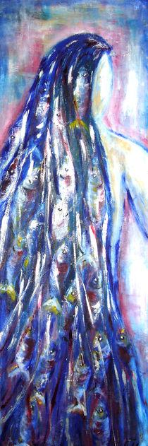 Frau mit Fischen im Haar by Christine  Hamm