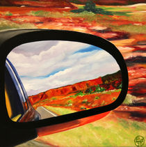 New Mexico, Desert Rear View Mirror von Barry Weatherall