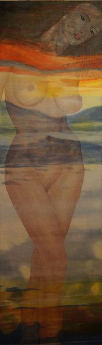 Frauenakt - Abendrot von Helmut Hackl