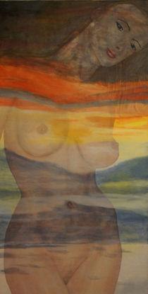 Frauenakt - im Abendrot von Helmut Hackl