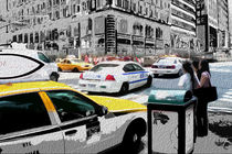 Block USA 2008 – Set 007 – Bild B – Times Square – Yellow Cab, Police Car by Peter Heiko Wassenberg