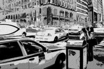 Block USA 2008 – Set 007 – Bild D – Times Square – Yellow Cab, Police Car by Peter Heiko Wassenberg