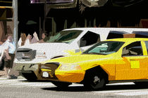 Block USA 2008 – Set 013 – Bild A – Times Square – Yellow Cab, Stretch Van von Peter Heiko Wassenberg