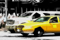 Block USA 2008 – Set 013 – Bild B – Times Square – Yellow Cab, Stretch Van von Peter Heiko Wassenberg