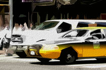 Block USA 2008 – Set 013 – Bild C – Times Square – Yellow Cab, Stretch Van von Peter Heiko Wassenberg