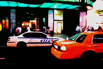 Block USA 2008 – Set 016 – Bild A – Times Square – Yellow Cab, Police Car von Peter Heiko Wassenberg