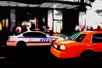 Block USA 2008 – Set 016 – Bild B – Times Square – Yellow Cab, Police Car by Peter Heiko Wassenberg
