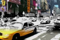 Block USA 2008 – Set 021 – Bild C – Times Square – Yellow Cab von Peter Heiko Wassenberg