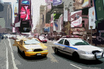 Block USA 2008 – Set 031 – Bild A – Times Square – Yellow Cab, Police Car by Peter Heiko Wassenberg