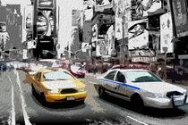 Block USA 2008 – Set 031 – Bild B – Times Square – Yellow Cab, Police Car by Peter Heiko Wassenberg