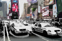 Block USA 2008 – Set 031 – Bild C – Times Square – Yellow Cab, Police Car by Peter Heiko Wassenberg