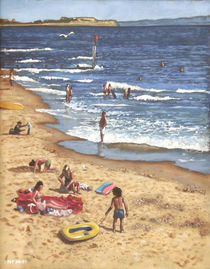 people on Bournemouth beach Blue Sea by Martin  Davey