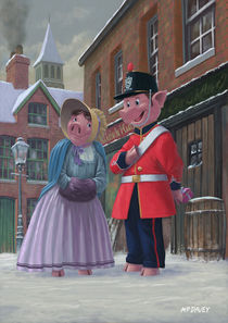 romantic victorian pigs in snowy street by Martin  Davey