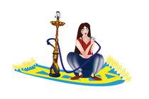 Shisha-rauchendes-maedchen-auf-einem-fliegenden-teppich