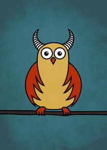 Funny-cartoon-horned-owl-poster