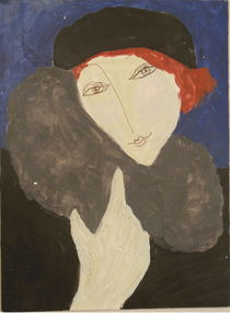 Elegant Lady in Fur Stole by et-alia-design