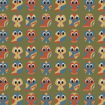 Owl Pattern on Green Background by Tasha Goddard