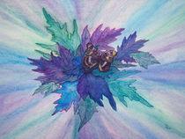 Blaue Blätter mit Schmetterling by Dagmar Laimgruber
