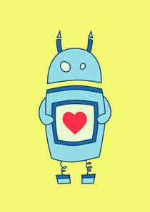 Clumsy-funny-robot-with-heart-light-poster