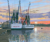 Shem Creek Shrimpers, Charleston  by Richard Harpum