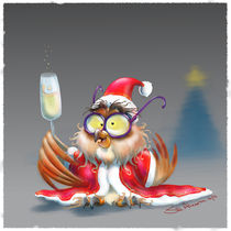 Owl Xmas card by Siddhartha Ahearne